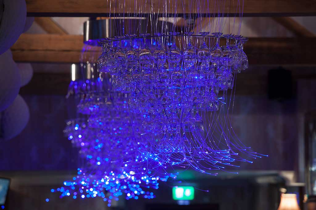 fibre optic chandeliers above the bar in the duchess of kirkcaldy